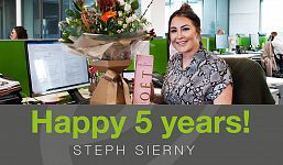 Congratulations Steph Sierny on 5 years at Elevation Recruitment Group
